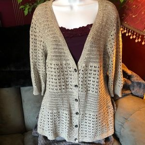 DKNY Jeans Button Up Knit Cardigan with Tank